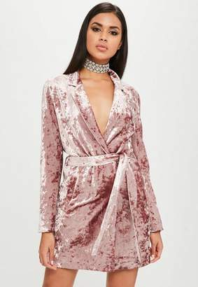 Missguided Carli Bybel x Pink Crushed Velvet Wrap Dress