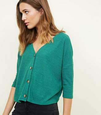 New Look Green Ribbed Button Front 3/4 Sleeve Top