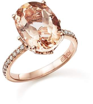 Bloomingdale's Morganite Oval and Diamond Statement Ring in 14K Rose Gold - 100% Exclusive
