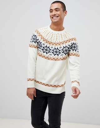 Bellfield brushed knitted sweater with fairisle