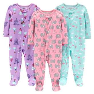Carter's Child of Mine by One piece footed poly pajamas, 3pk (baby girls & toddler girls)