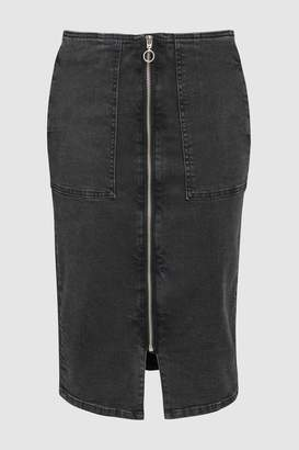 Next Womens Washed Black Zip Front Denim Skirt