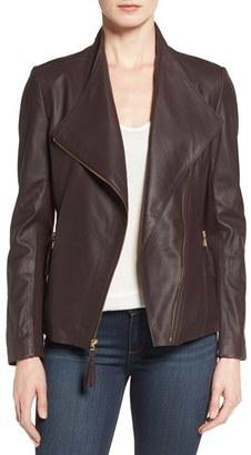 Women's Via Spiga Asymmetrical Leather Jacket $448 thestylecure.com