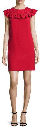 Trina Turk Sleeveless Crepe Ruffle-Trim Shift Dress, Ruby Rose $268 thestylecure.com