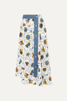 Loewe Paula's Ibiza Denim-trimmed Printed Crepe De Chine Midi Skirt - White