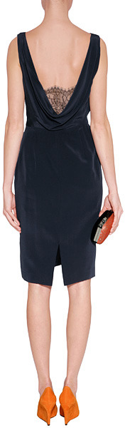 Paul Smith Black Navy Silk Lace Cami Dress