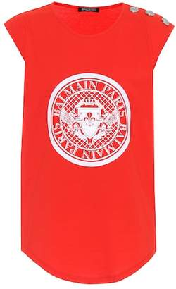 Balmain Sleeveless printed cotton top