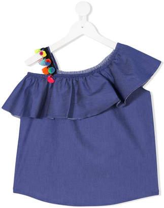 Mariuccia Milano Kids pom-pom strap frill top