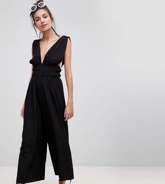 ASOS Tall ASOS DESIGN Tall Ruched Waist Plunge Jumpsuit
