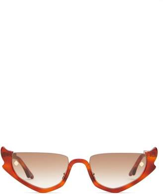 Atelier Moy Strangers Ray Cat Eye Acetate Sunglasses - Womens - Brown