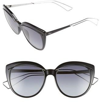Women's Dior 'Liner' 56Mm Cat Eye Sunglasses - Black/ Palladium $375 thestylecure.com