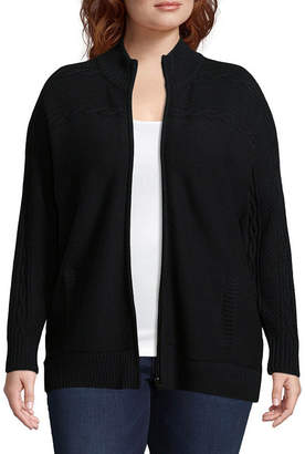ST. JOHN'S BAY Zip Front Cable Cardigan - Plus