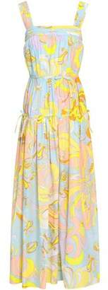 Emilio Pucci Gathered Printed Silk-voile Maxi Dress
