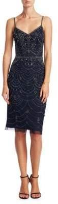 Theia Beaded Spaghetti Strap Dress