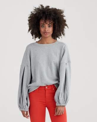 7 For All Mankind Puff Sleeve Sweatshirt in Heather Grey
