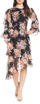 Cooper St Chateau Ruffle Sleeve Floral Midi Dress