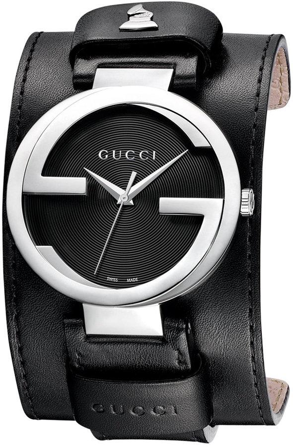 Gucci Watch, Unisex Swiss Interlocking Special Edition Grammy® Black Leather Cuff Strap 42mm YA133201