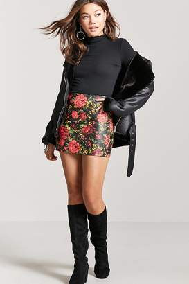 Forever 21 Floral Faux Leather Mini Skirt