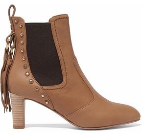 See by Chloe Dasha Studded Textured-Leather Ankle Boots