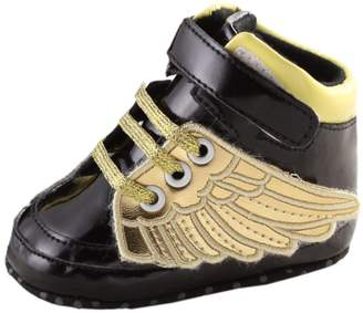 Leapfrog Baby Boys Girls Angel Wing T-tied Sparkle Pu Leather High Top Sports Sneakers Boots Prewalker Shoes Black