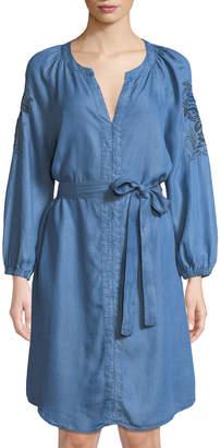 Neiman Marcus Embroidered Denim Peasant Dress