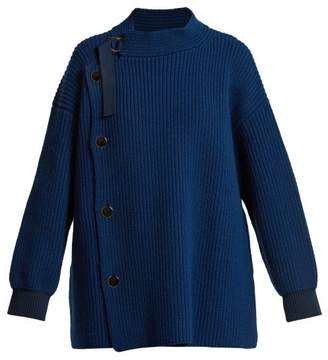 Stella McCartney Ribbed Knit Wool Cardigan - Womens - Navy