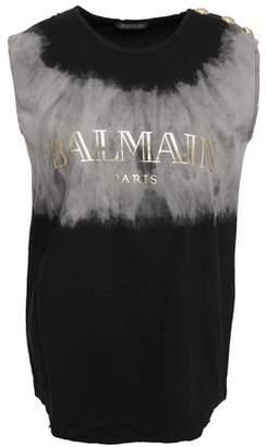Balmain Distressed Printed Tie-dye Cotton-jersey Tank