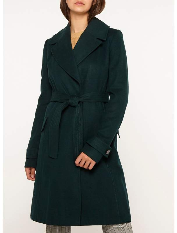 Tall Green Wrap Belted Coat