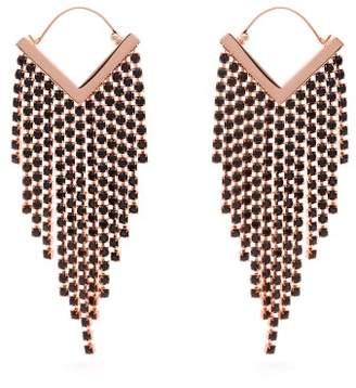 Isabel Marant Crystal Fringed V Shape Earrings - Womens - Black