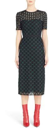 Fendi Geometric Lace Sheath Dress