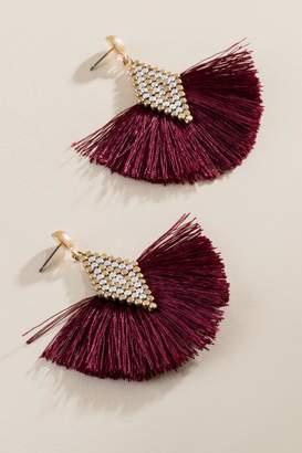 francesca's Shanley Tassel Fan Earrings - Burgundy