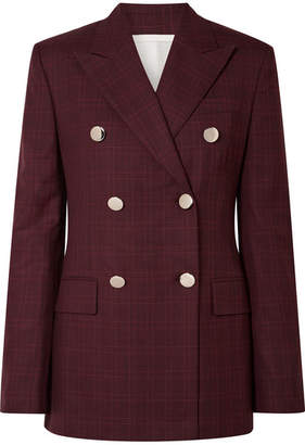 Calvin Klein Double-breasted Prince Of Wales Checked Wool And Silk-blend Blazer - Burgundy