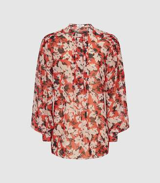 6ee835b8e551f3 Reiss Provence - Floral Printed Blouse in Red
