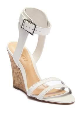 Schutz Leather Ankle Strap Wedge Heel