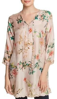 Johnny Was Delight Floral-Print Silk Top