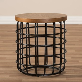 Baxton Studio Carie Industrial Metal Black Finish and Distressed Wood Accent Table