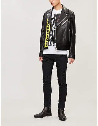 DSQUARED2 Caution-print graphic-back leather jacket