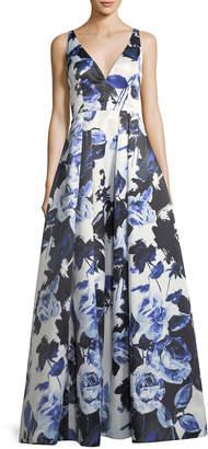Aidan Mattox Floral-Print Satin Ball Gown