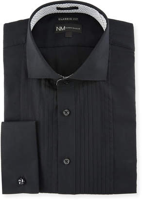 Neiman Marcus Classic-Fit Regular Finish Dobby Dress Shirt, Black