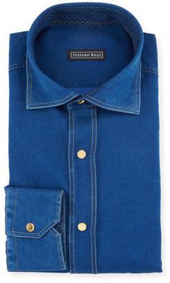 Stefano Ricci Men's Denim-Style Dress Shirt
