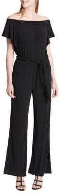 Calvin Klein Off-the-Shoulder Belted Jumpsuit