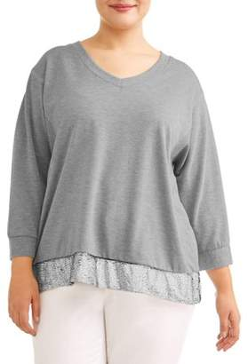 121870e4f68 Angels Women s Plus Size Plush Fleece Mixed Media Sweatshirt