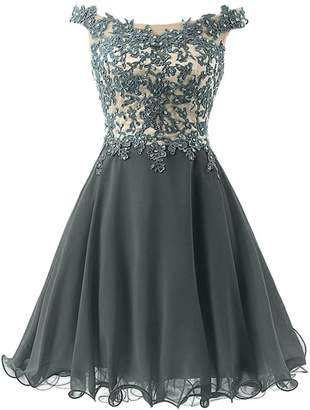 Cdress Short Homecoming Dresses Chiffon Prom Dress Junior Cocktail Gowns Lace Applique US