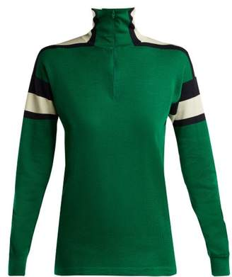 Gucci Logo Applique Long Sleeved Half Zip Top - Womens - Green White