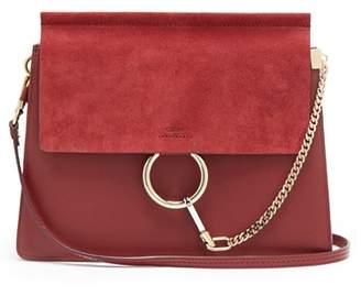 Chloé Faye Medium Leather And Suede Shoulder Bag - Womens - Burgundy