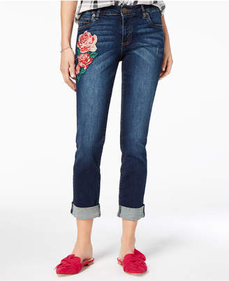 KUT from the Kloth Petite Katy Embroidered Skinny Ankle Jeans