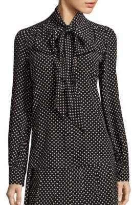 Marc Jacobs Polka Dot Tie-Neck Blouse