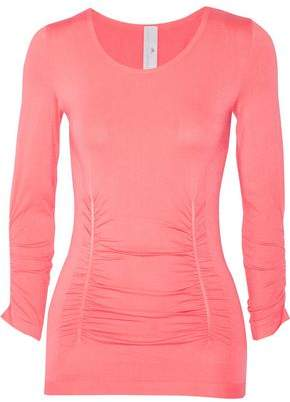 Ruched Mesh-Paneled Stretch-Jersey Top