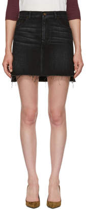 Saint Laurent Black Denim Asymmetric Miniskirt