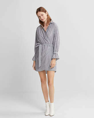 Express Striped Cotton Poplin Wrap Dress